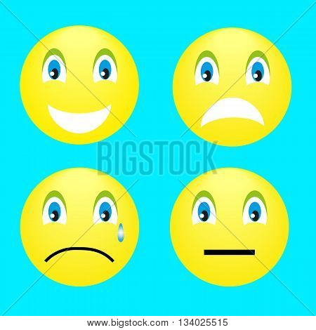 4 smiley: smile, anger, resentment, thinking on a turquoise background