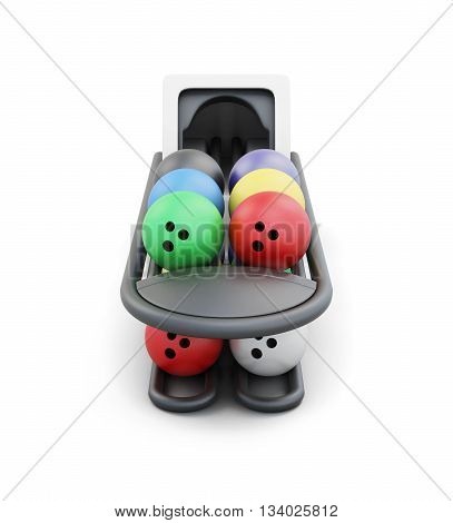 Bowling ball return system isolated on a white background. 3d rendering.