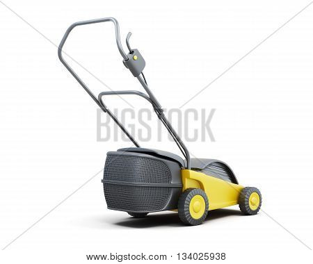 Yellow lawn mower isolated on a white background. Electric lawn mower. 3d render image.