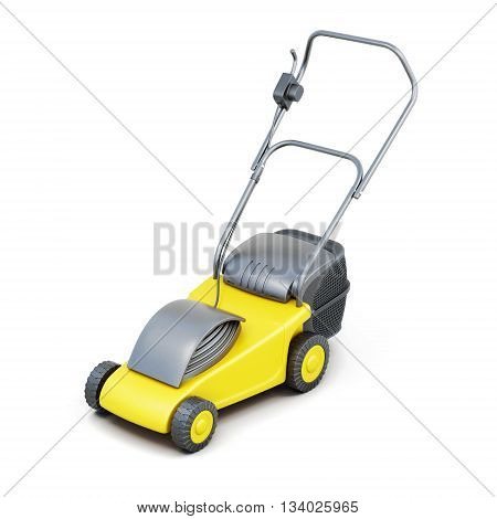 3d image of a lawn mower isolated on white background. Yellow lawn mower. Electric lawn mower