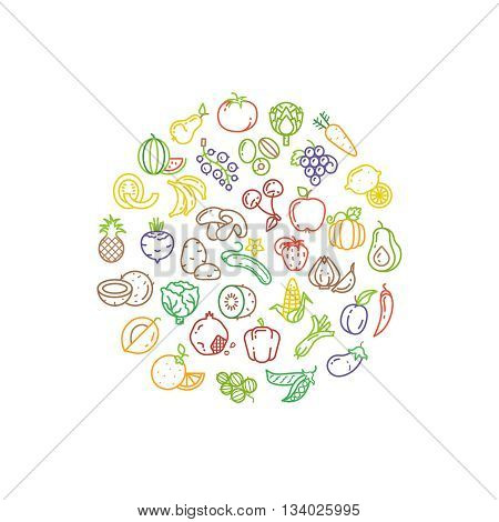 Fruit and vegetable vector logo with line icons. Fruit food and icon vegetable, organic healthy fruit illustration