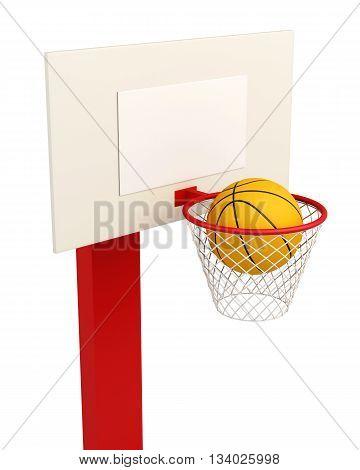 Basketball backboard isolated on white background. 3d render image.