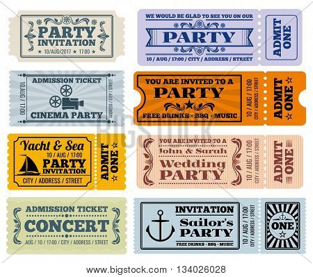 Entertainment, party and cinema vector vintage tickets and coupons templates. Ticket to party wedding and ticket for entertainment illustration