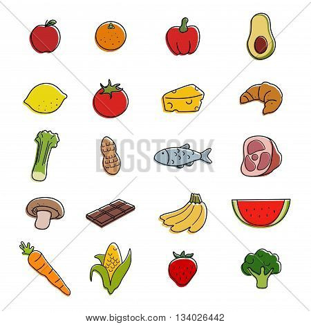 A vector illustration of food icons sets