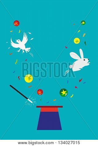 Bunny, Dove and Balls appear from an empty hat. Magic concept. Editable Clip Art.