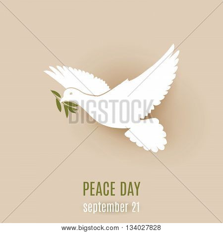 Peace day design with flying white dove with olive twig in its beak