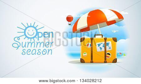Summer seaside vacation illustration. Open summer season
