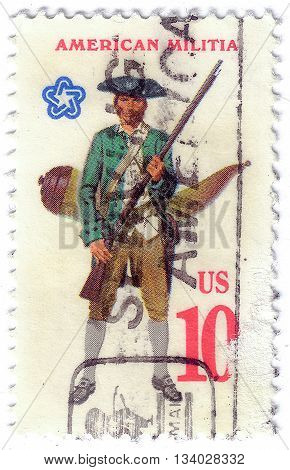 Usa - Circa 1975: A Stamp Printed In United States Of America Shows Military Uniform Of The American