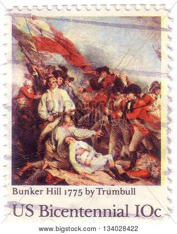 Usa - Circa 1975: A Postage Stamp Printed In The Usa, Dedicated To The 200Th Anniversary Of The Batt