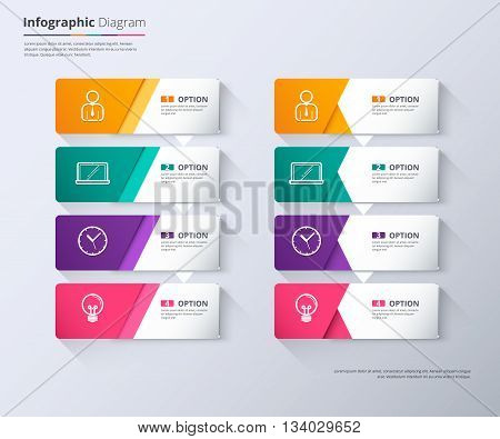 Label Infographic Design, Work Flow Diagram, Step Down Concept, Vector Stock.