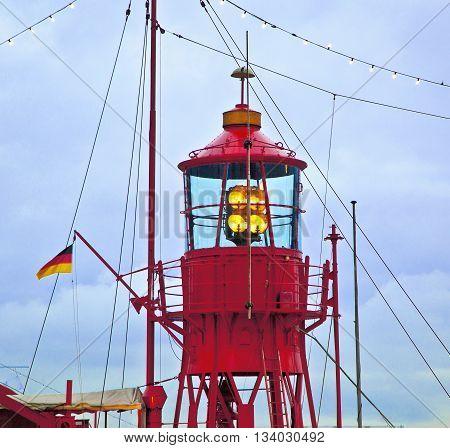 detail of lighthouse ship in harbor of Hamburg