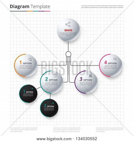 Diagram Template, Organization Chart Template. Flow Template, Blank Diagram For Replace Text, White