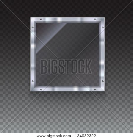 Glass plate with metal frame and bolts on transparent background. Banner of glass and metal frame with reflexes. Technological background for your design