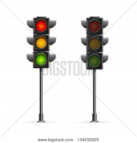 Road Traffic Light Full Length Isolated on White Background. Symbol Of Traffic Rules. Vector illustration