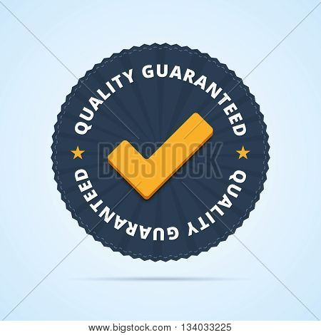 Quality guaranteed - tested badge. Vector illustration in flat style.