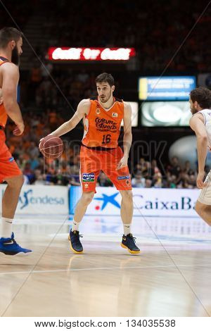 VALENCIA, SPAIN - JUNE 9th: Vives with ball during 4th playoff match between Valencia Basket and Real Madrid at Fonteta Stadium on June 9, 2016 in Valencia, Spain