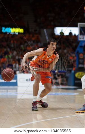 VALENCIA, SPAIN - JUNE 9th: Lucic during 4th playoff match between Valencia Basket and Real Madrid at Fonteta Stadium on June 9, 2016 in Valencia, Spain