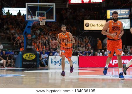 VALENCIA, SPAIN - JUNE 9th: Diot with ball during 4th playoff match between Valencia Basket and Real Madrid at Fonteta Stadium on June 9, 2016 in Valencia, Spain