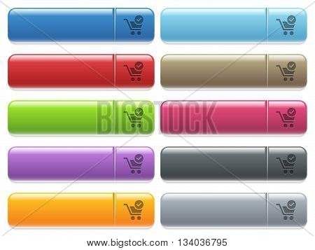 Set of cart checkout glossy color menu buttons with engraved icons