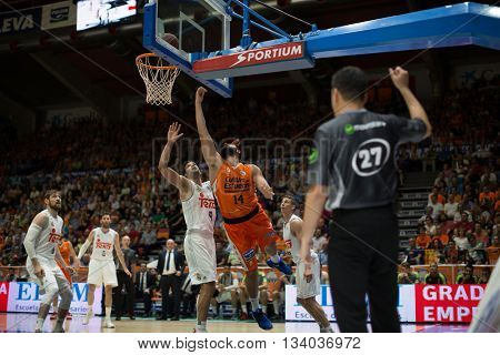 VALENCIA, SPAIN - JUNE 9th: Dubljevic with ball during 4th playoff match between Valencia Basket and Real Madrid at Fonteta Stadium on June 9, 2016 in Valencia, Spain