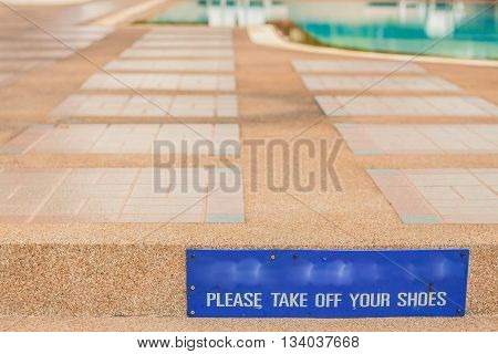 sign on the entrance of stairs pool.