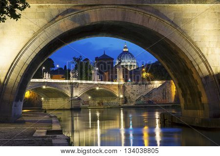 Night view of Rome and Tiber, Italy, Europe.