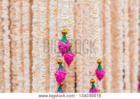 Popped hanging on a thread and decorations.