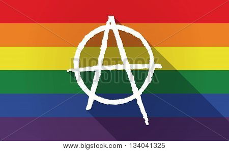 Long Shadow Gay Pride Flag With An Anarchy Sign