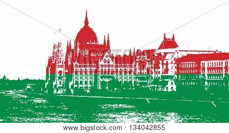 Silhouette of Hungarian parliament - Orszaghaz in Budapest filled with national colors. Vector graphic. Red and green. Hungarian flag. Travel destination. Architectural theme.