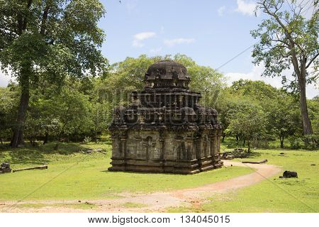 POLONNARUWA, SRI LANKA - MARCH 15, 2015: An ancient Hindu temple in the archaeological Park Polonnaruwa. Religious landmark of the  Sri Lanka