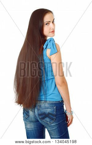 young woman with long dark hair Half-lenght portrait on white background, isolated