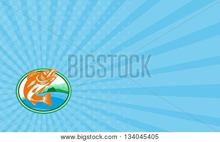 Business card showing illustration of a Walleye (Sander vitreus formerly Stizostedion vitreum) a freshwater perciform fish with lake and cabin in the woods in the background set inside oval shape done in retro style.