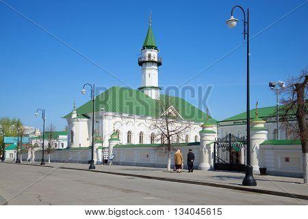 KAZAN, RUSSIA - MAY 02, 2016: View of the mosque of Al-Marjani in the old Tatar Sloboda. Religious landmark of the city Kazan, Tatarstan