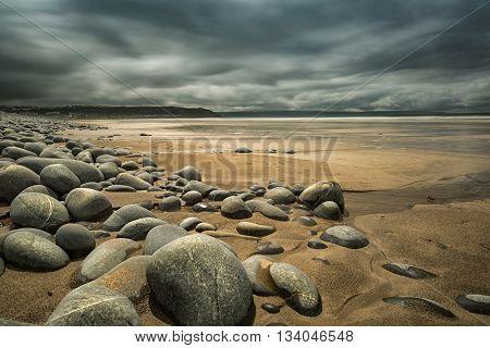 Moody sky over the shores of  North Devon England