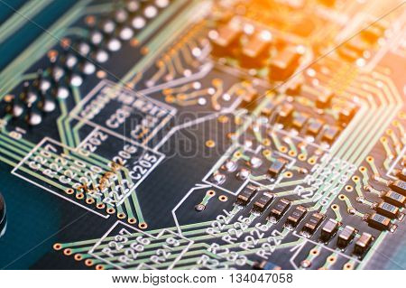 Details of Circuit board, electronic board close up.