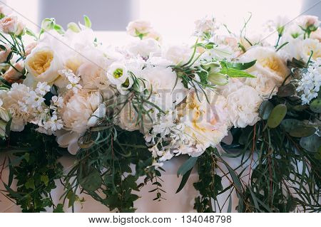 Beautiful Flowers Of Roses And Peonies On Table. Decoration For Wedding Celebration.