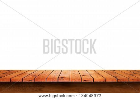 Empty wooden table with white wall background. For display or montage your products