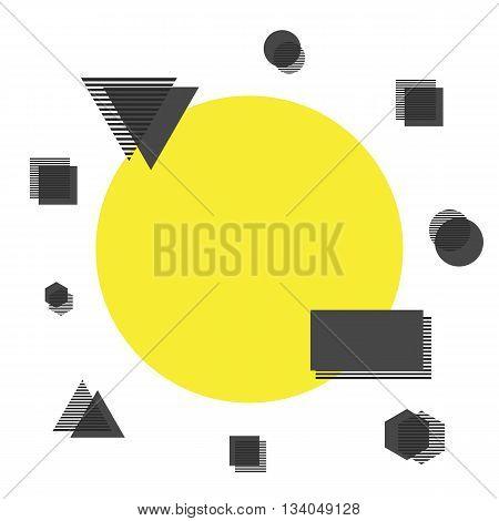 minimalist background yellow circle with geometric icon isolated on white background