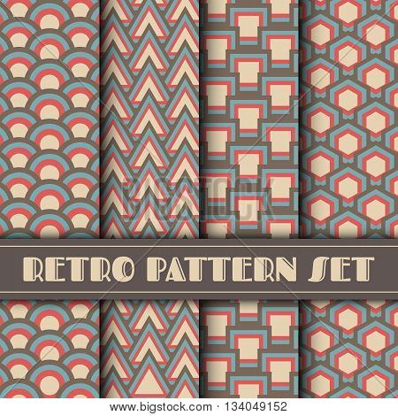 retro pattern set vintage and pastel collection