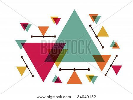 triangle geometric abstract background tribal style isolated on white background