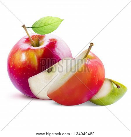 Red apple with green and red slices isolated on white background with clipping path. Red apple with leaf. Green and red apple slices isolated on white.