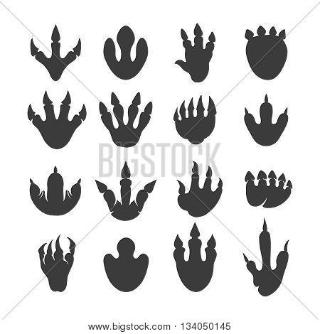 Vector reptile footprints. Dinosaur tracks vector black icons