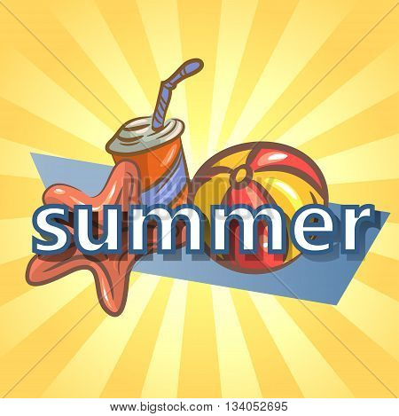 Summer background with ball, starfish and drink. vector illustration EPS10