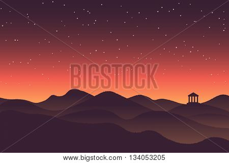 Abstract background landscape sunset silhouette mountain scenery