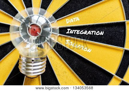 data integration solution dart run in to idea bulb lamp target on dartboard background business success concept