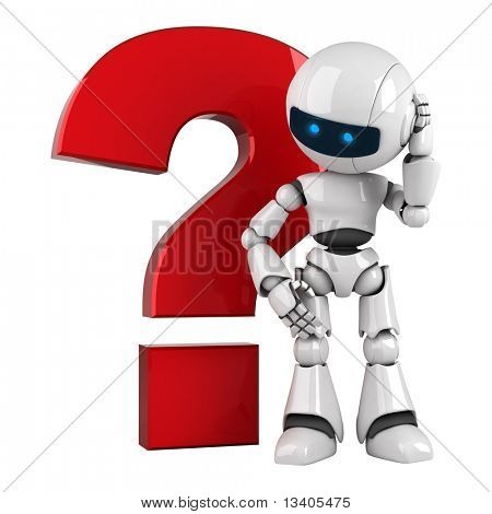 Funny white robot stay with red question