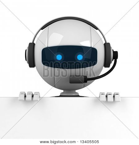 Funny white robot stay with banner