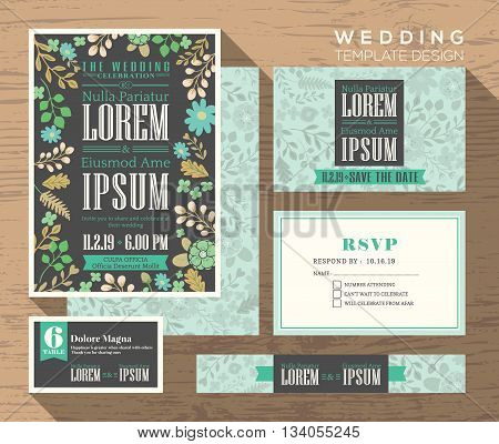 Cute pastel floral pattern theme design wedding invitation set Template Vector place card response card save the date card