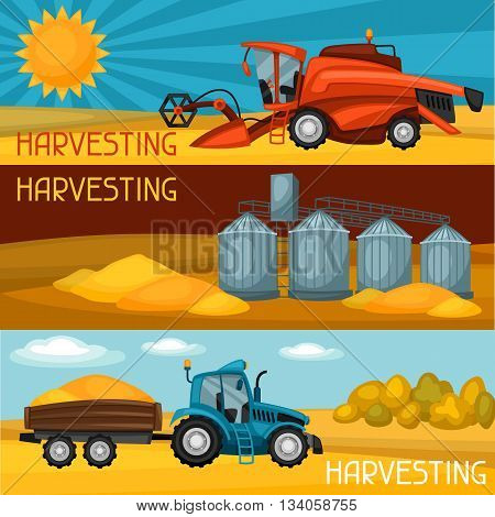Set of harvesting banners. Combine harvester, tractor and granary. Agricultural illustration farm rural landscape.