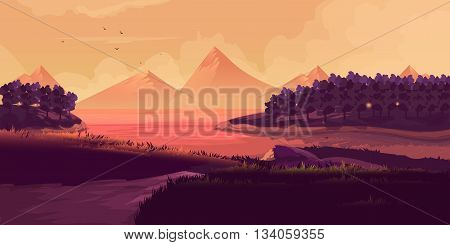Illustration Of Night Landscape, Mountains, Sunset. Silhouette of a forest on the background of a mountain range.